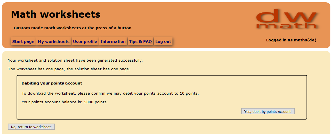 Image of payment confirmation page for worksheet download