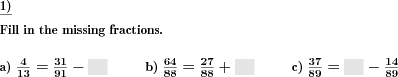 Fractions addition subtraction fill in the blanks