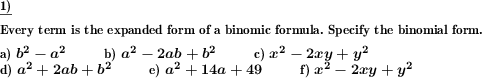 Specify binomic formula for expanded term