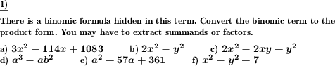 Extract binomic formula from term