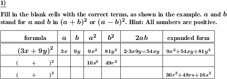 Examine the elements of binomic formulas