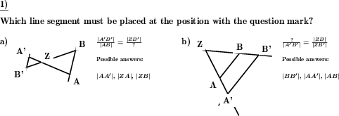 In a statement of the intercept theorems the missing line segment name has to be inserted. (Beispiel für die Lösung)